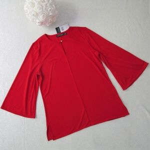 NWT Ralph Lauren Red Flare Bell Sleeve Blouse